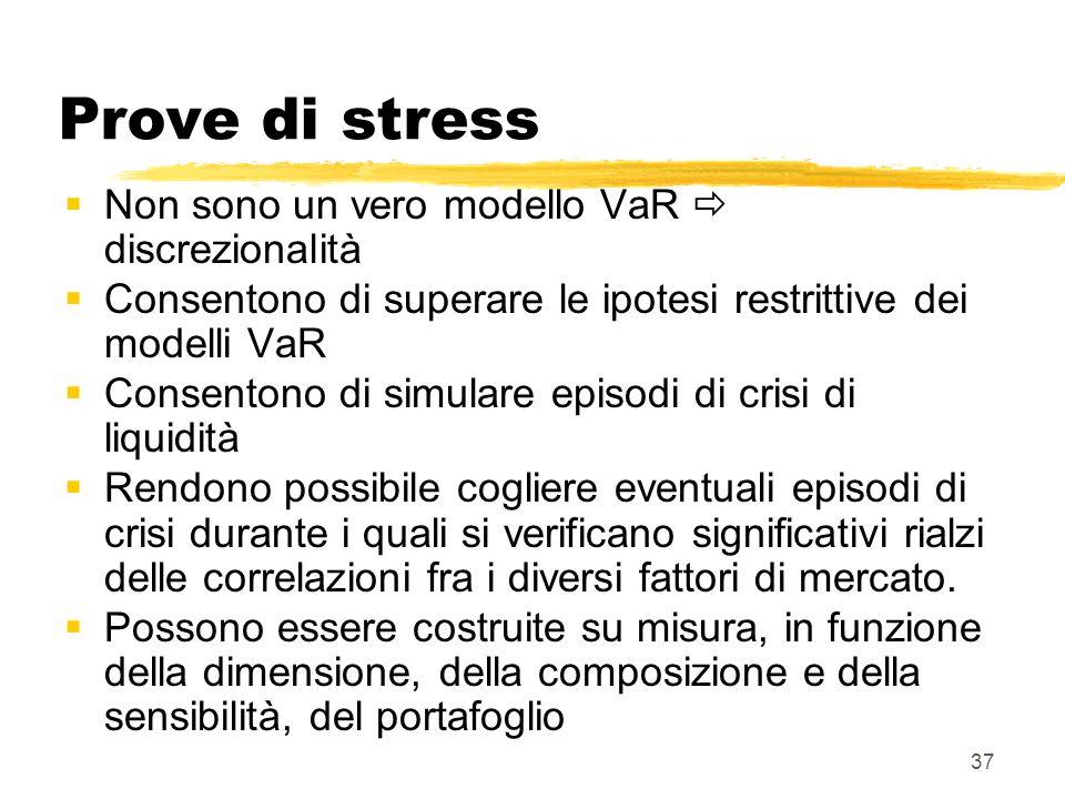 37 Prove di stress  Non sono un vero modello VaR  discrezionalità  Consentono di superare le ipotesi restrittive dei modelli VaR  Consentono di si