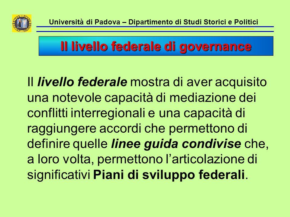 Università di Padova – Dipartimento di Studi Storici e Politici Il livello federale mostra di aver acquisito una notevole capacità di mediazione dei c