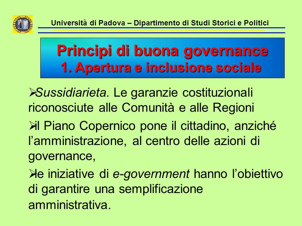 Università di Padova – Dipartimento di Studi Storici e Politici  Sussidiarieta. Le garanzie costituzionali riconosciute alle Comunità e alle Regioni