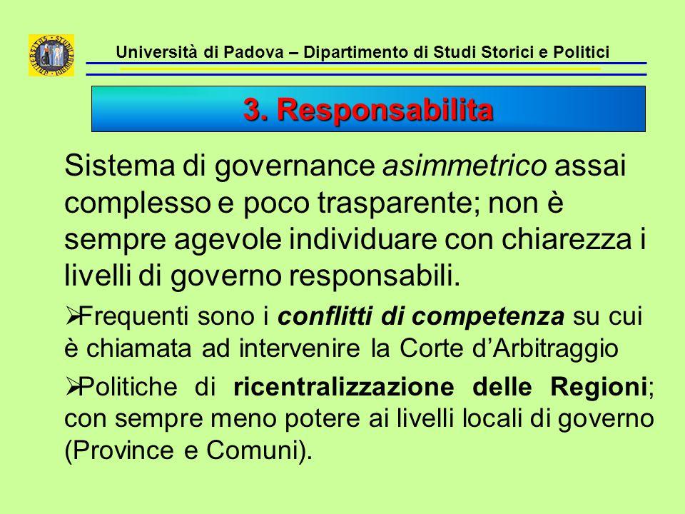 Università di Padova – Dipartimento di Studi Storici e Politici Sistema di governance asimmetrico assai complesso e poco trasparente; non è sempre age