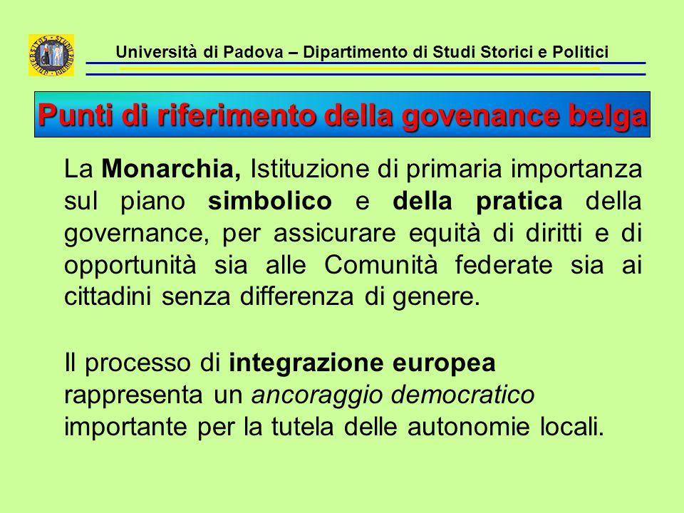 Università di Padova – Dipartimento di Studi Storici e Politici Sistema di governance asimmetrico assai complesso e poco trasparente; non è sempre agevole individuare con chiarezza i livelli di governo responsabili.