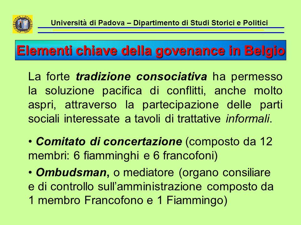 Università di Padova – Dipartimento di Studi Storici e Politici La forte tradizione consociativa ha permesso la soluzione pacifica di conflitti, anche