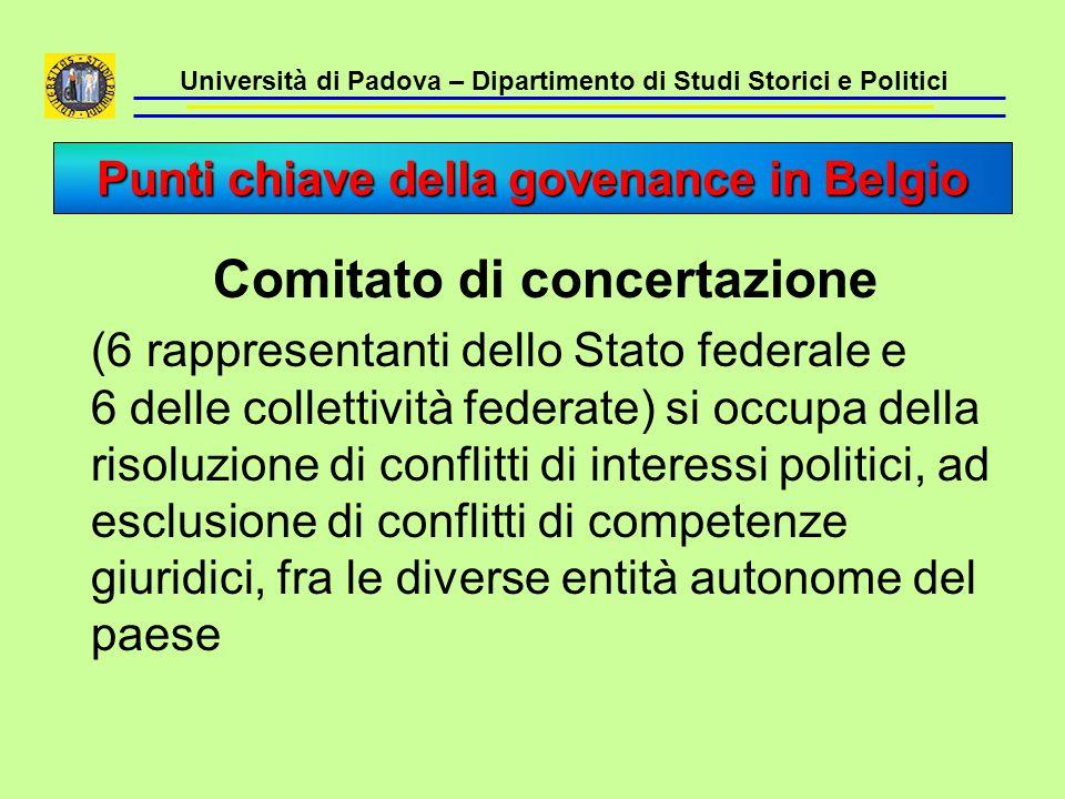 Università di Padova – Dipartimento di Studi Storici e Politici Comitato di concertazione (6 rappresentanti dello Stato federale e 6 delle collettivit