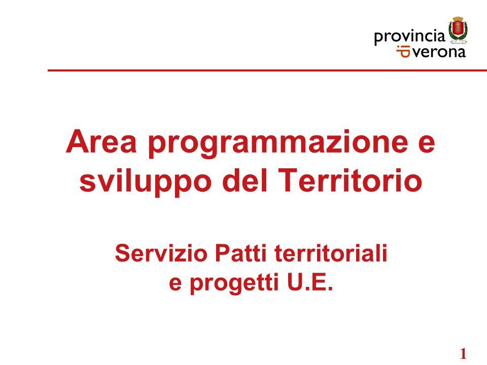 1 Area programmazione e sviluppo del Territorio Servizio Patti territoriali e progetti U.E.