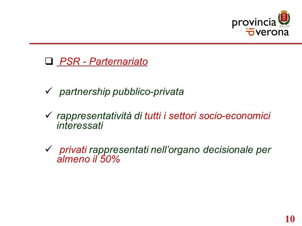 10  PSR - Parternariato partnership pubblico-privata rappresentatività di tutti i settori socio-economici interessati privati rappresentati nell'organo decisionale per almeno il 50%