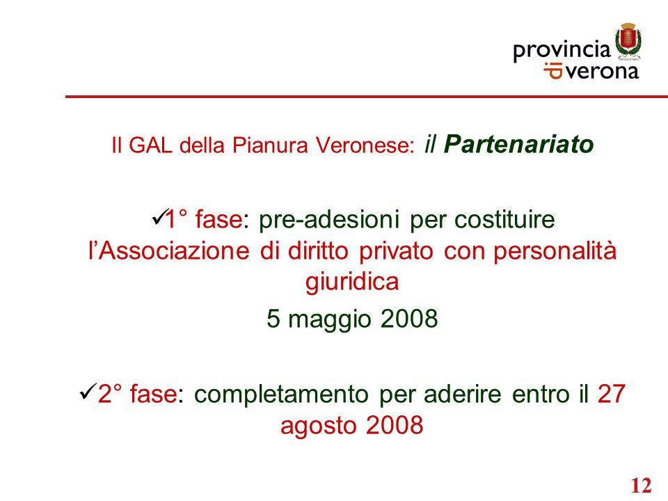 12 Il GAL della Pianura Veronese: il Partenariato 1° fase: pre-adesioni per costituire l'Associazione di diritto privato con personalità giuridica 5 maggio 2008 2° fase: completamento per aderire entro il 27 agosto 2008