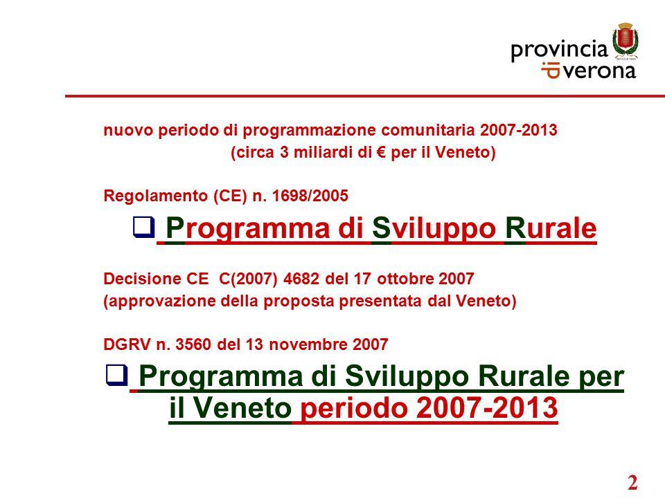 2 nuovo periodo di programmazione comunitaria 2007-2013 (circa 3 miliardi di € per il Veneto) Regolamento (CE) n.
