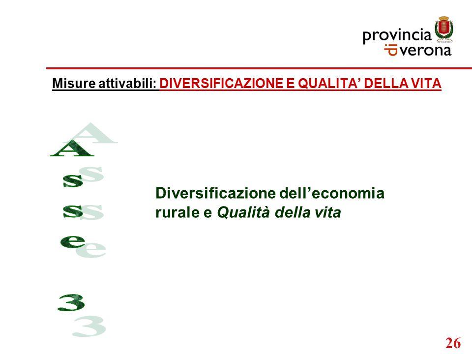 26 Misure attivabili: DIVERSIFICAZIONE E QUALITA' DELLA VITA Diversificazione dell'economia rurale e Qualità della vita