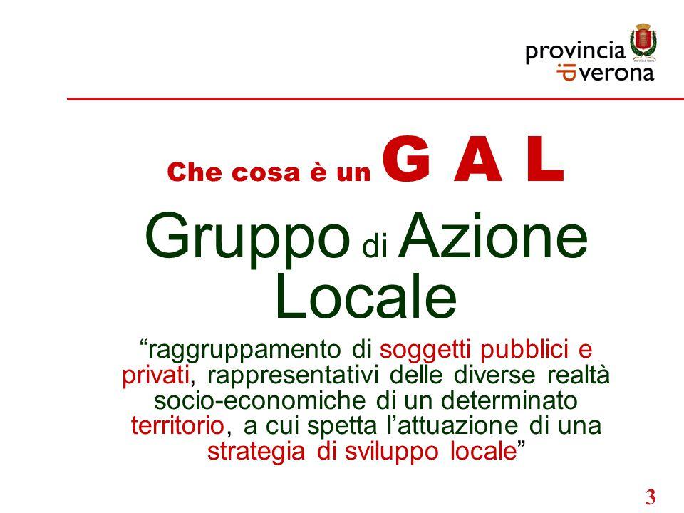 3 Che cosa è un G A L Gruppo di Azione Locale raggruppamento di soggetti pubblici e privati, rappresentativi delle diverse realtà socio-economiche di un determinato territorio, a cui spetta l'attuazione di una strategia di sviluppo locale