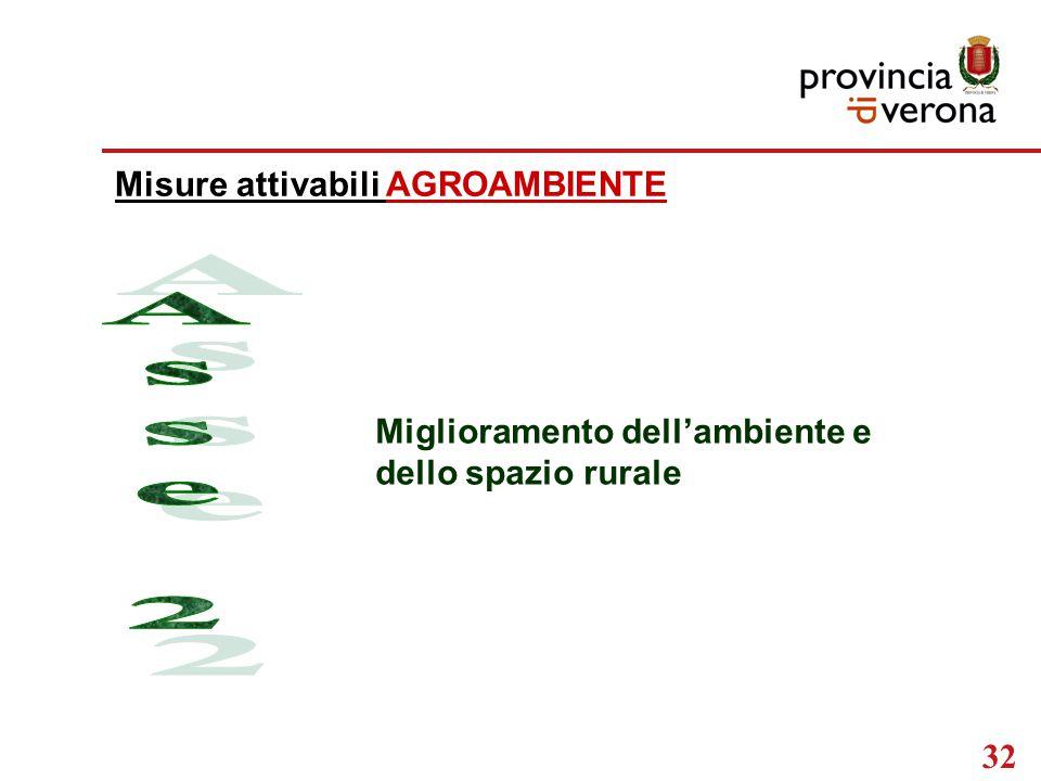 32 Misure attivabili AGROAMBIENTE Miglioramento dell'ambiente e dello spazio rurale