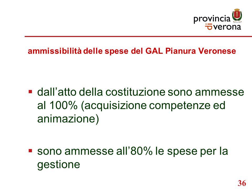 36 ammissibilità delle spese del GAL Pianura Veronese  dall'atto della costituzione sono ammesse al 100% (acquisizione competenze ed animazione)  sono ammesse all'80% le spese per la gestione