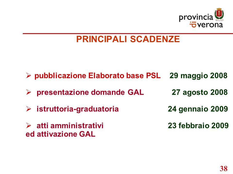 38 PRINCIPALI SCADENZE  pubblicazione Elaborato base PSL 29 maggio 2008  presentazione domande GAL 27 agosto 2008  istruttoria-graduatoria 24 gennaio 2009  atti amministrativi 23 febbraio 2009 ed attivazione GAL