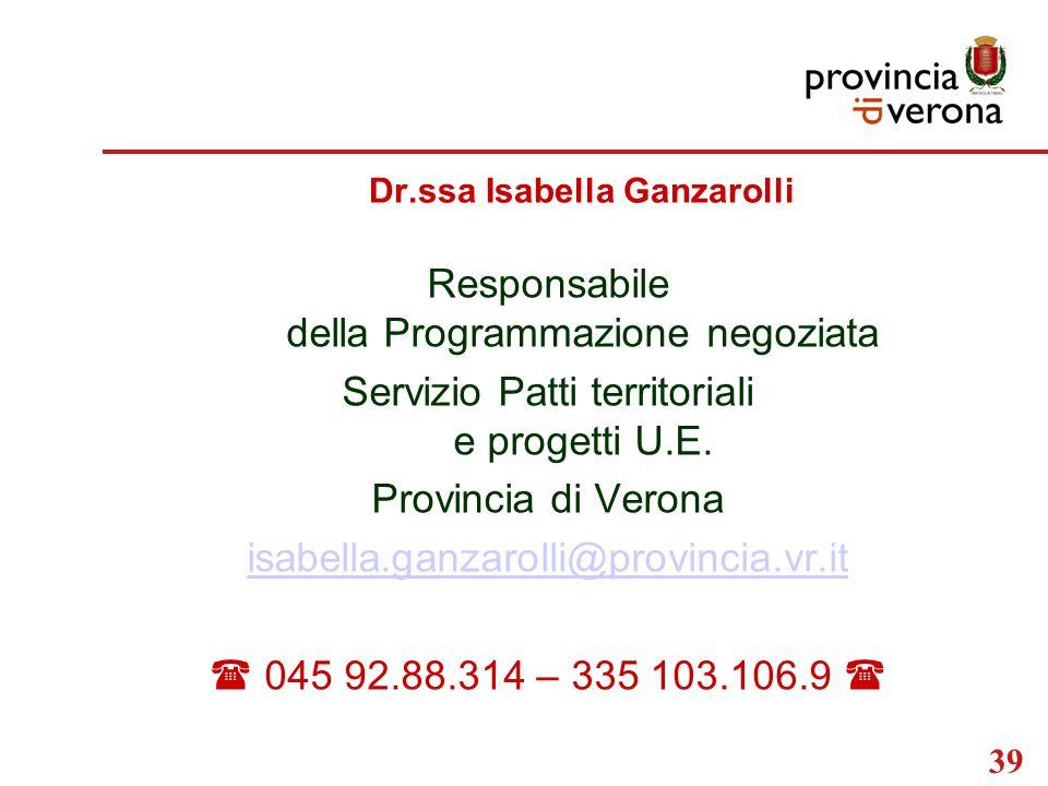 39 Dr.ssa Isabella Ganzarolli Responsabile della Programmazione negoziata Servizio Patti territoriali e progetti U.E.