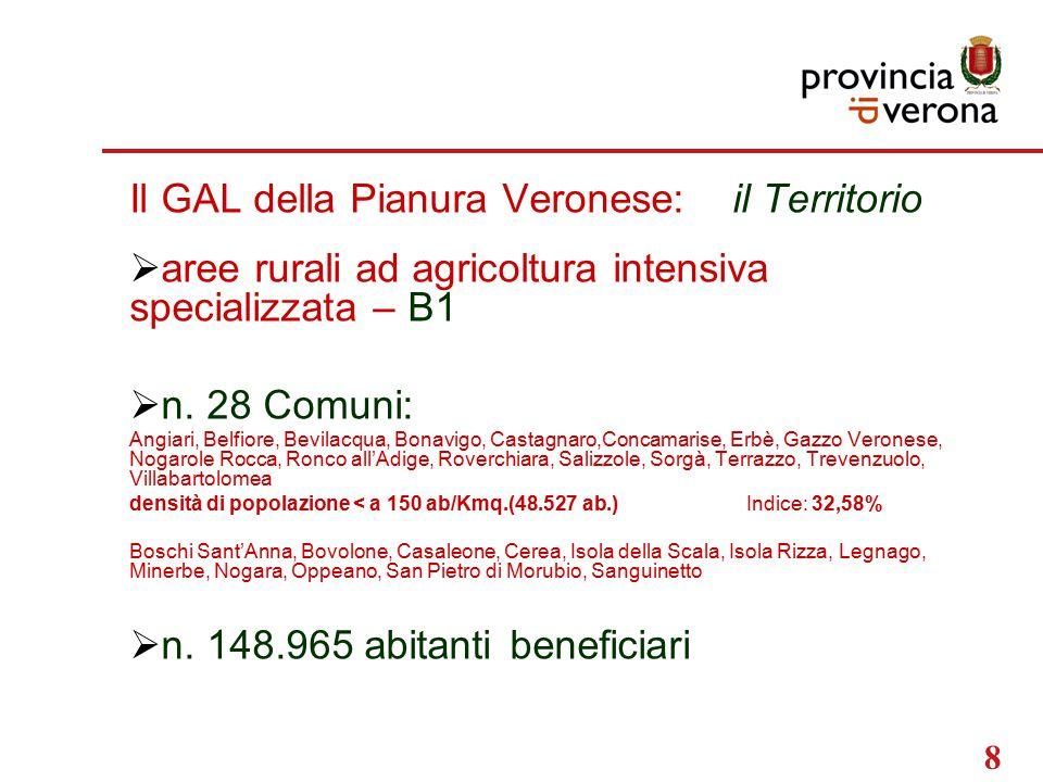 8 Il GAL della Pianura Veronese: il Territorio  aree rurali ad agricoltura intensiva specializzata – B1  n.