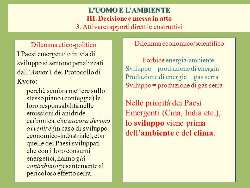 Dilemma etico-politico I Paesi emergenti o in via di sviluppo si sentono penalizzati dall'Annex 1 del Protocollo di Kyoto: perchè sembra mettere sullo