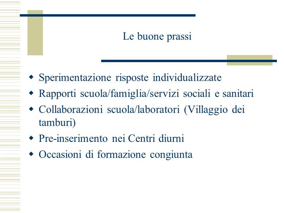 Le buone prassi  Sperimentazione risposte individualizzate  Rapporti scuola/famiglia/servizi sociali e sanitari  Collaborazioni scuola/laboratori (Villaggio dei tamburi)  Pre-inserimento nei Centri diurni  Occasioni di formazione congiunta