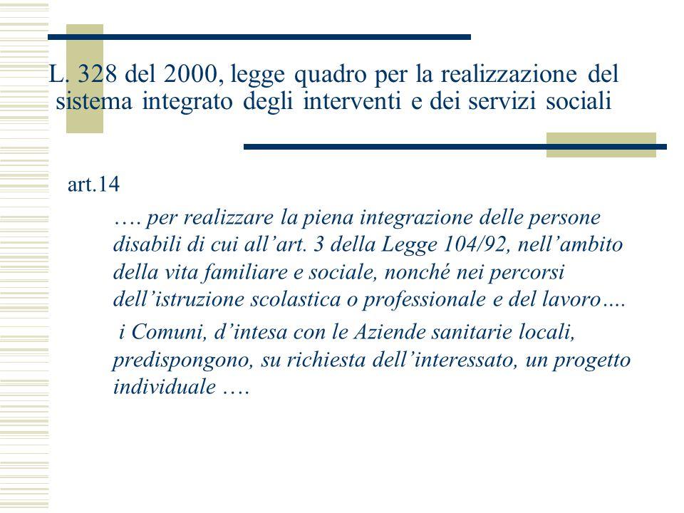 L. 328 del 2000, legge quadro per la realizzazione del sistema integrato degli interventi e dei servizi sociali art.14 …. per realizzare la piena inte