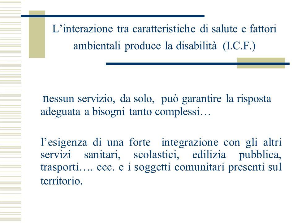 L'interazione tra caratteristiche di salute e fattori ambientali produce la disabilità (I.C.F.) n essun servizio, da solo, può garantire la risposta a