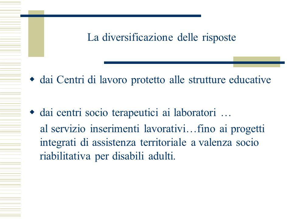 La diversificazione delle risposte  dai Centri di lavoro protetto alle strutture educative  dai centri socio terapeutici ai laboratori … al servizio