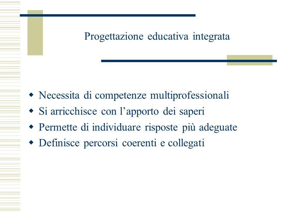 Progettazione educativa integrata  Necessita di competenze multiprofessionali  Si arricchisce con l'apporto dei saperi  Permette di individuare risposte più adeguate  Definisce percorsi coerenti e collegati