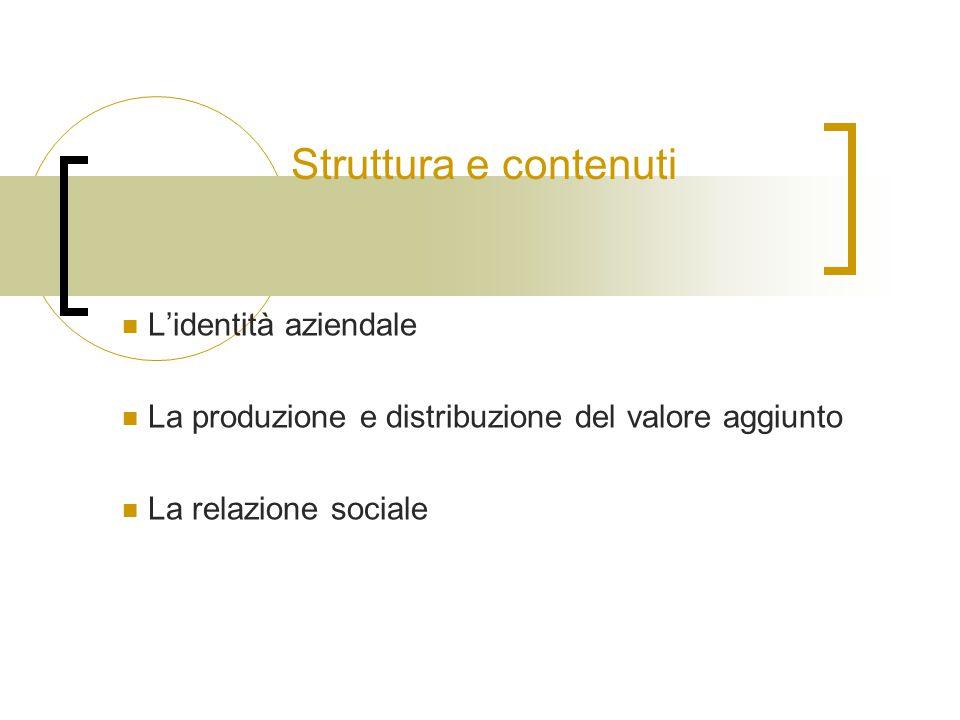 Struttura e contenuti L'identità aziendale La produzione e distribuzione del valore aggiunto La relazione sociale