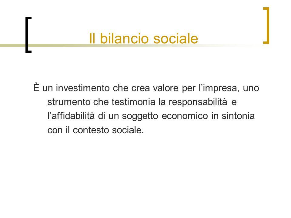 Il bilancio sociale È un investimento che crea valore per l'impresa, uno strumento che testimonia la responsabilità e l'affidabilità di un soggetto economico in sintonia con il contesto sociale.