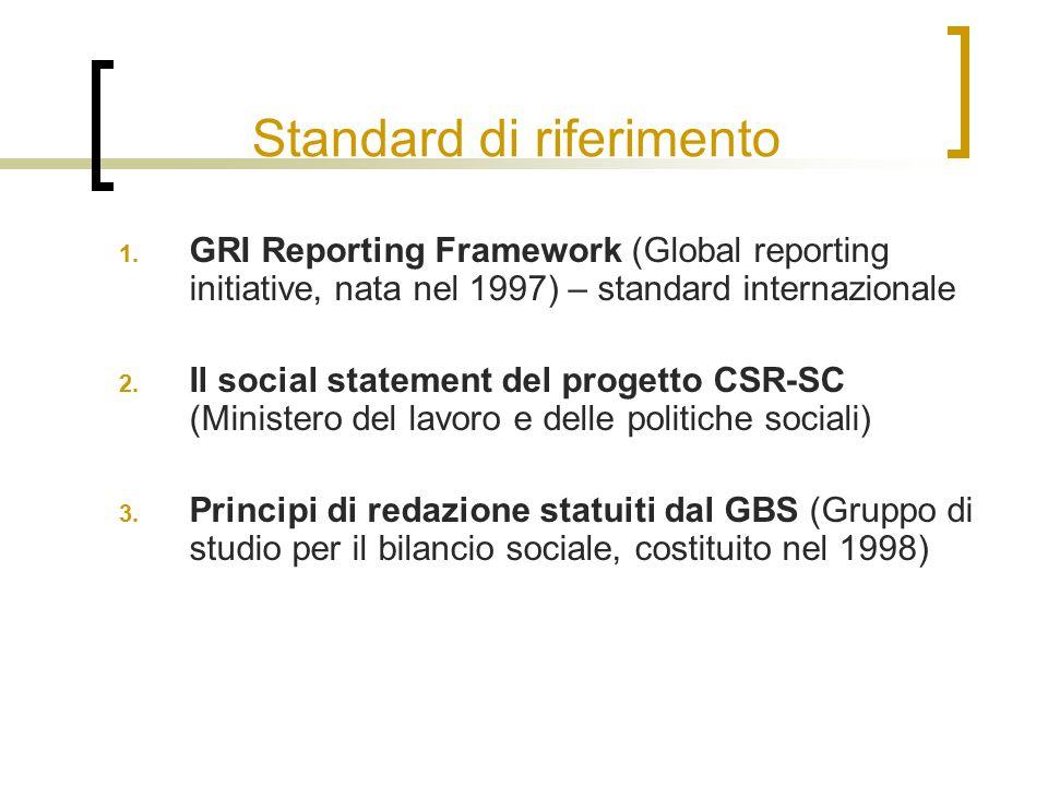 Standard di riferimento 1. GRI Reporting Framework (Global reporting initiative, nata nel 1997) – standard internazionale 2. Il social statement del p