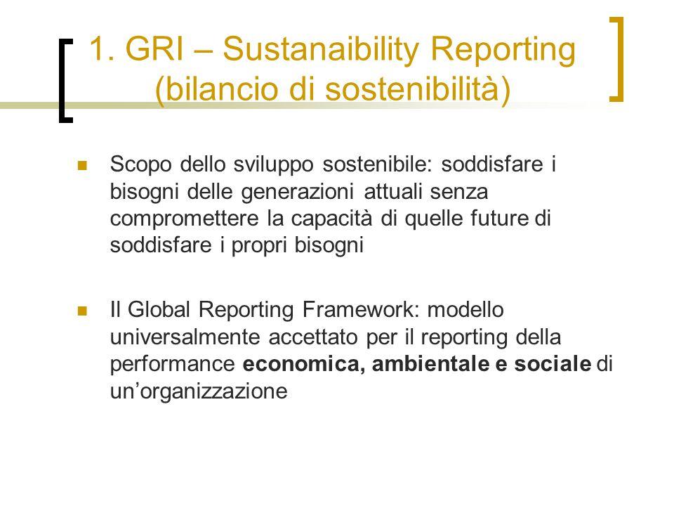 1. GRI – Sustanaibility Reporting (bilancio di sostenibilità) Scopo dello sviluppo sostenibile: soddisfare i bisogni delle generazioni attuali senza c