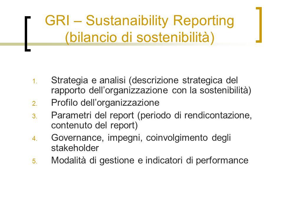 GRI – Sustanaibility Reporting (bilancio di sostenibilità) 1. Strategia e analisi (descrizione strategica del rapporto dell'organizzazione con la sost