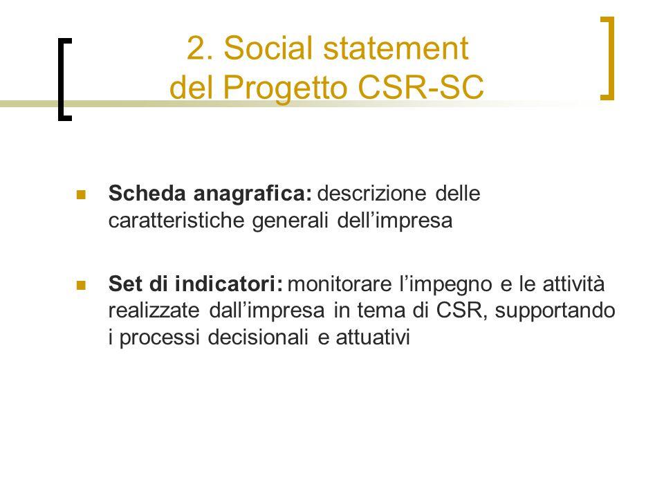 2. Social statement del Progetto CSR-SC Scheda anagrafica: descrizione delle caratteristiche generali dell'impresa Set di indicatori: monitorare l'imp
