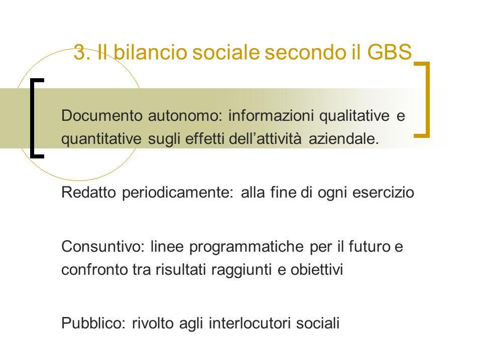 3. Il bilancio sociale secondo il GBS Documento autonomo: informazioni qualitative e quantitative sugli effetti dell'attività aziendale. Redatto perio