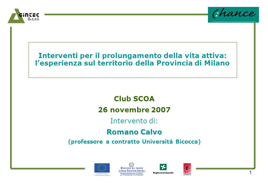 1 Interventi per il prolungamento della vita attiva: l'esperienza sul territorio della Provincia di Milano Club SCOA 26 novembre 2007 Intervento di: R