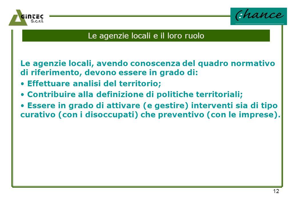 12 Le agenzie locali e il loro ruolo Le agenzie locali, avendo conoscenza del quadro normativo di riferimento, devono essere in grado di: Effettuare a