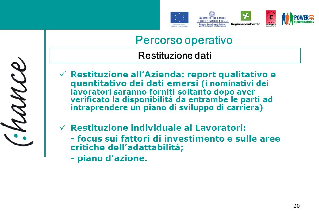 20 Percorso operativo Restituzione all'Azienda: report qualitativo e quantitativo dei dati emersi (i nominativi dei lavoratori saranno forniti soltant