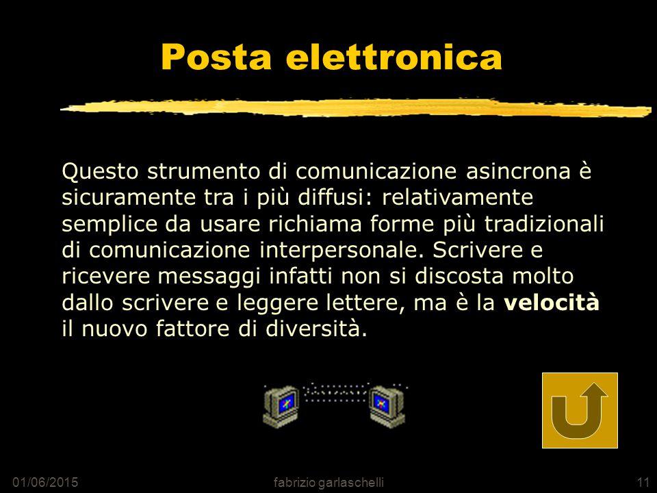 01/06/2015fabrizio garlaschelli11 Posta elettronica Questo strumento di comunicazione asincrona è sicuramente tra i più diffusi: relativamente semplice da usare richiama forme più tradizionali di comunicazione interpersonale.
