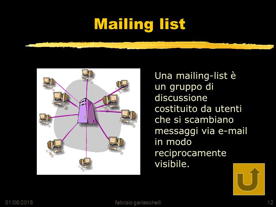 01/06/2015fabrizio garlaschelli12 Mailing list Una mailing-list è un gruppo di discussione costituito da utenti che si scambiano messaggi via e-mail in modo reciprocamente visibile.