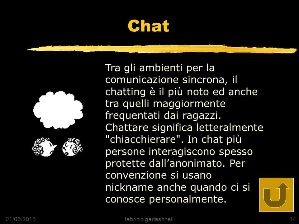 01/06/2015fabrizio garlaschelli14 Chat Tra gli ambienti per la comunicazione sincrona, il chatting è il più noto ed anche tra quelli maggiormente frequentati dai ragazzi.