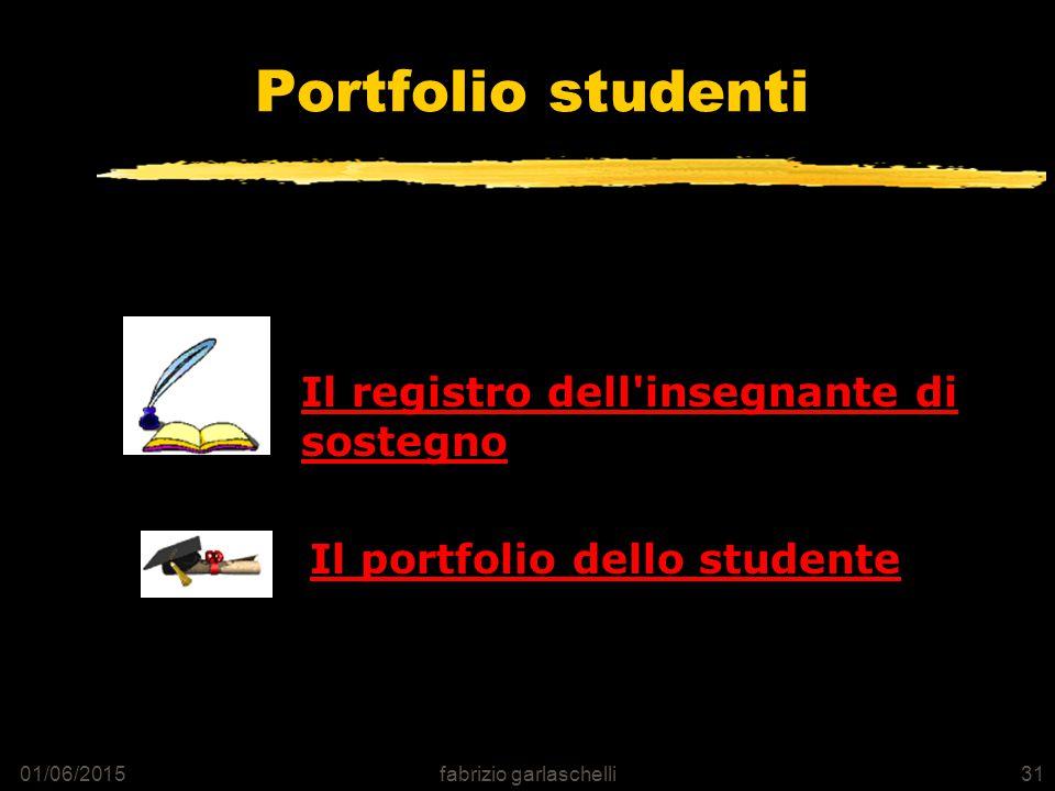 01/06/2015fabrizio garlaschelli31 Portfolio studenti Il registro dell insegnante di sostegno Il portfolio dello studente