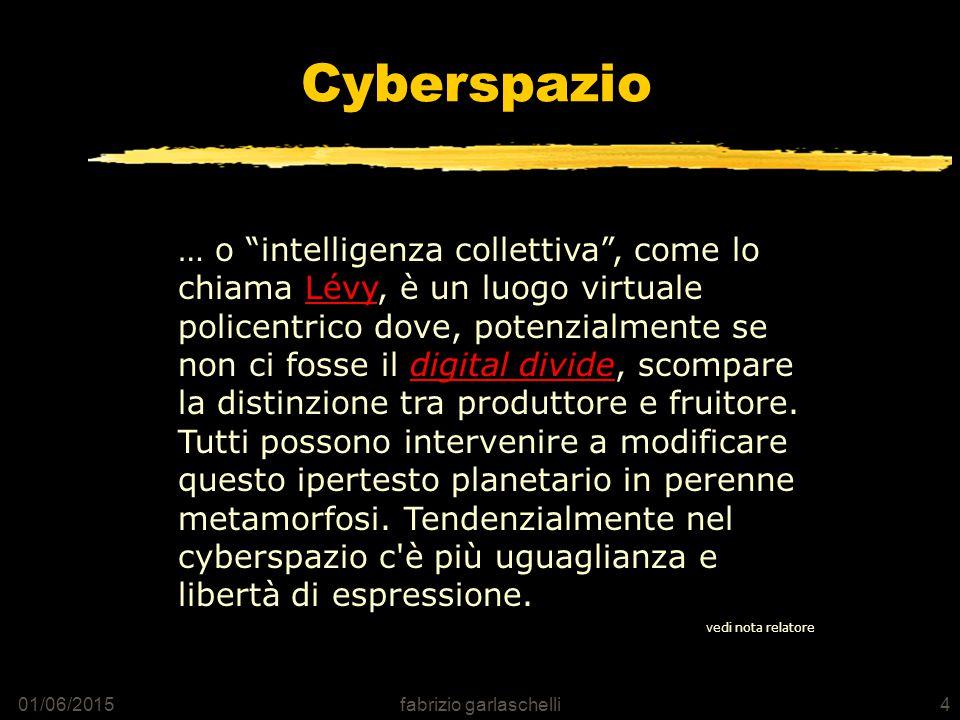 01/06/2015fabrizio garlaschelli4 Cyberspazio … o intelligenza collettiva , come lo chiama Lévy, è un luogo virtuale policentrico dove, potenzialmente se non ci fosse il digital divide, scompare la distinzione tra produttore e fruitore.