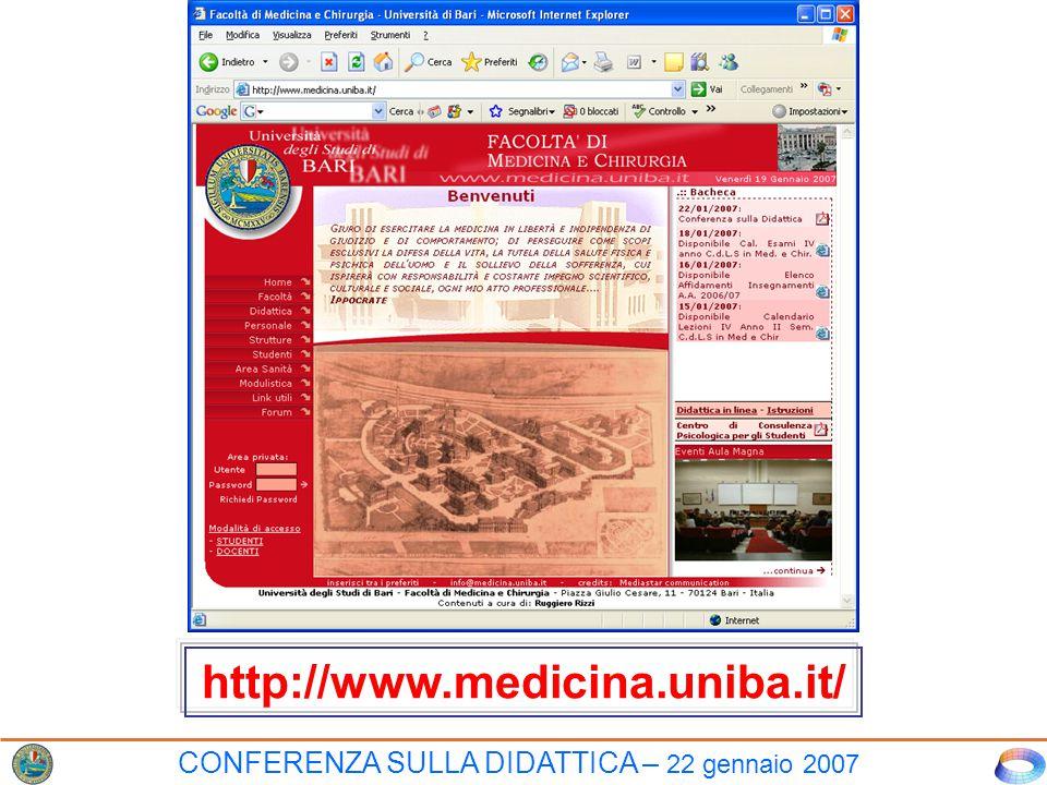 CONFERENZA SULLA DIDATTICA – 22 gennaio 2007 http://www.medicina.uniba.it/