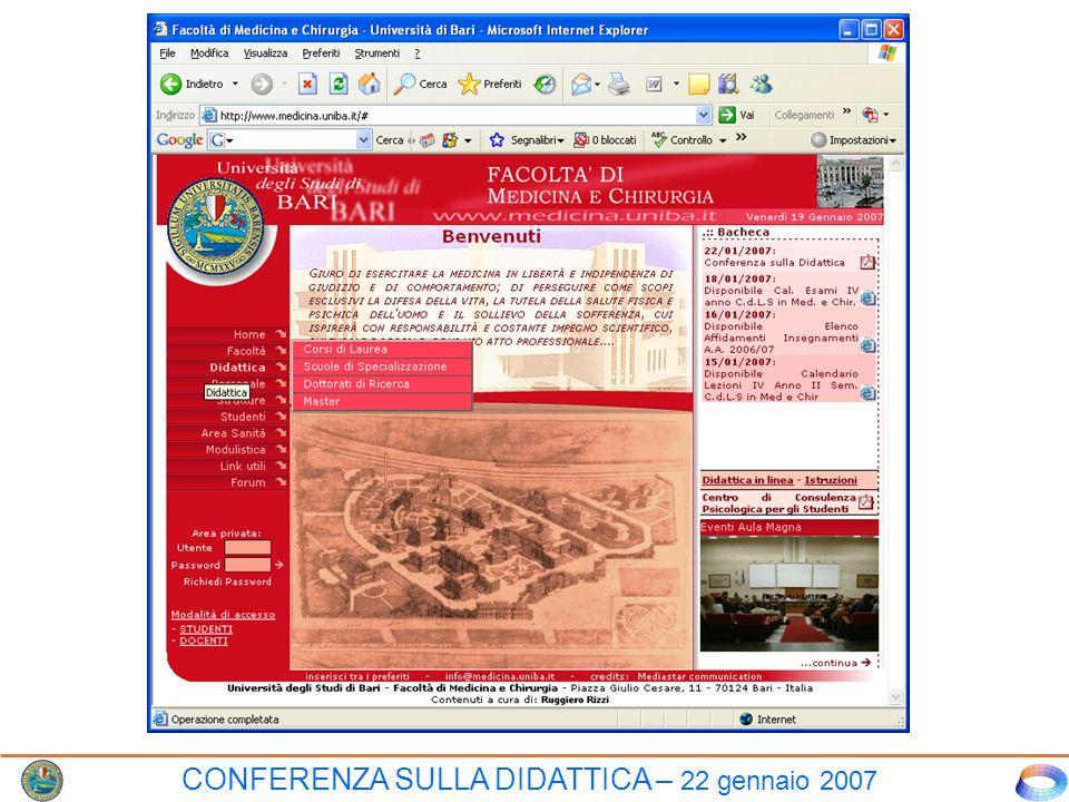 CONFERENZA SULLA DIDATTICA – 22 gennaio 2007