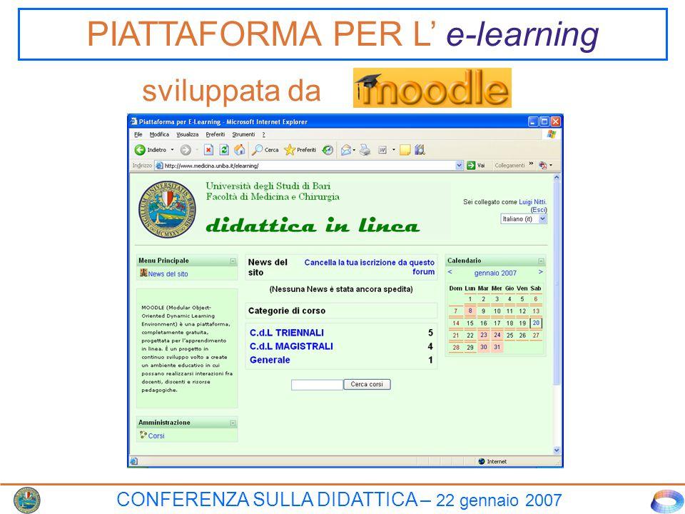 CONFERENZA SULLA DIDATTICA – 22 gennaio 2007 PIATTAFORMA PER L' e-learning sviluppata da
