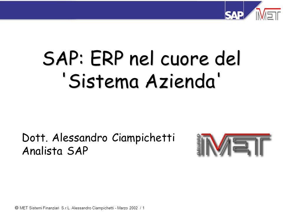  MET Sistemi Finanziari S.r.L. Alessandro Ciampichetti - Marzo 2002 / 1 SAP: ERP nel cuore del 'Sistema Azienda' Dott. Alessandro Ciampichetti Analis