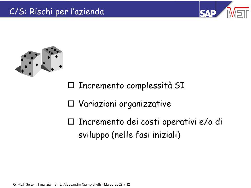  MET Sistemi Finanziari S.r.L. Alessandro Ciampichetti - Marzo 2002 / 12 C/S: Rischi per l'azienda oIncremento complessità SI oVariazioni organizzati