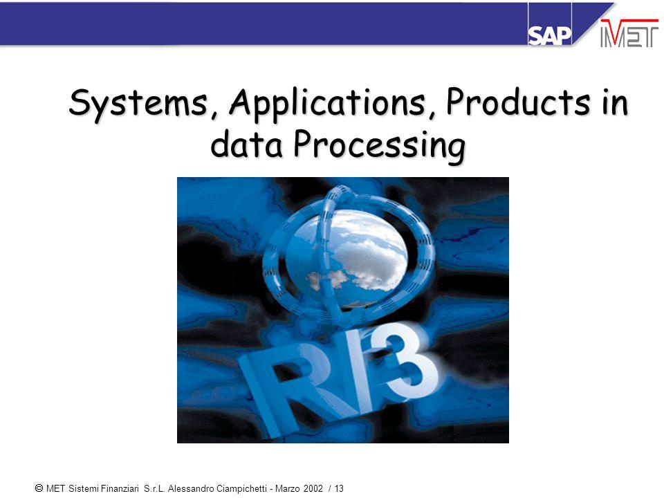  MET Sistemi Finanziari S.r.L. Alessandro Ciampichetti - Marzo 2002 / 13 Systems, Applications, Products in data Processing