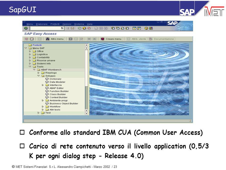  MET Sistemi Finanziari S.r.L. Alessandro Ciampichetti - Marzo 2002 / 23 SapGUI oConforme allo standard IBM CUA (Common User Access) oCarico di rete