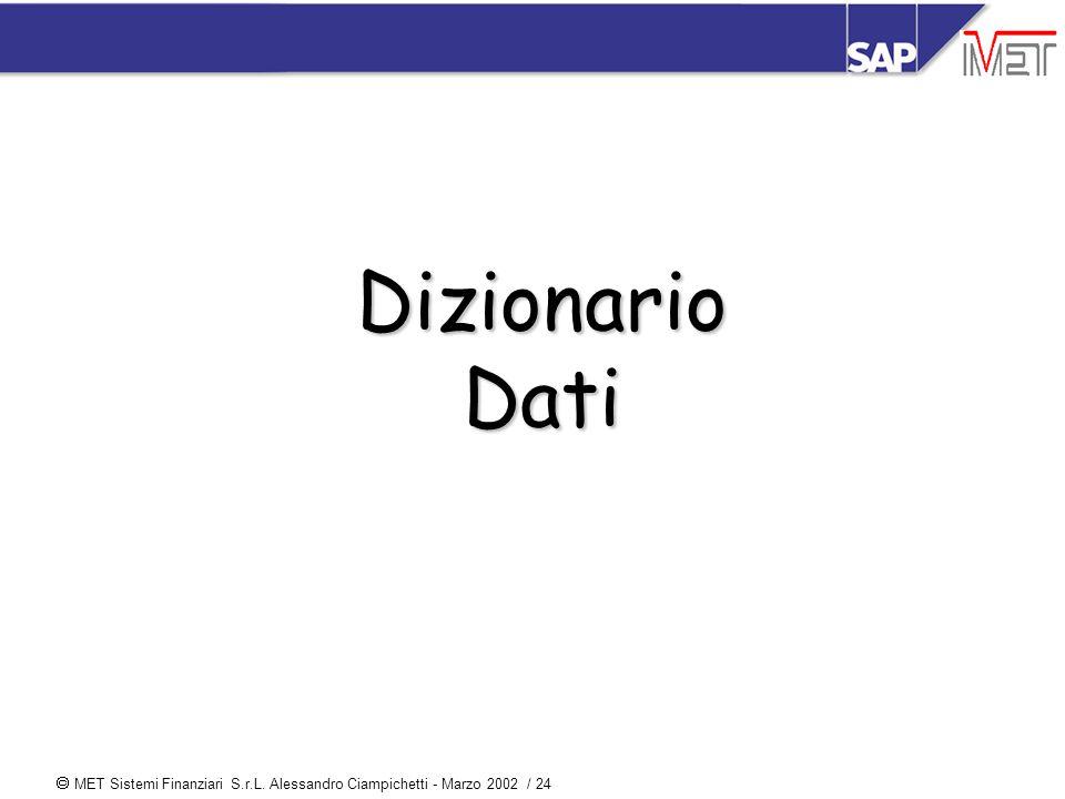  MET Sistemi Finanziari S.r.L. Alessandro Ciampichetti - Marzo 2002 / 24 Dizionario Dati
