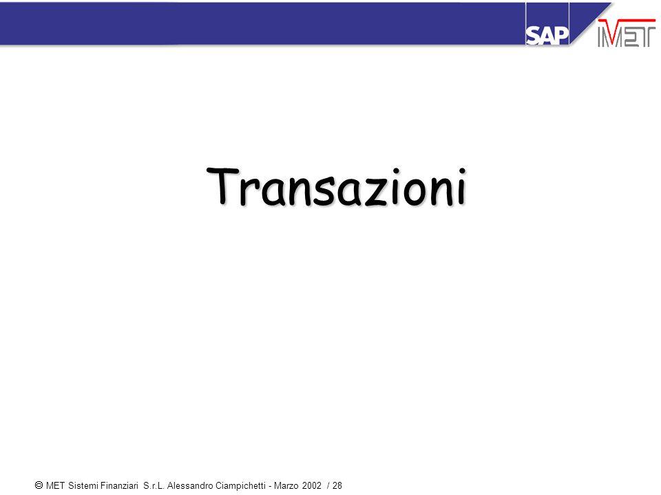  MET Sistemi Finanziari S.r.L. Alessandro Ciampichetti - Marzo 2002 / 28 Transazioni