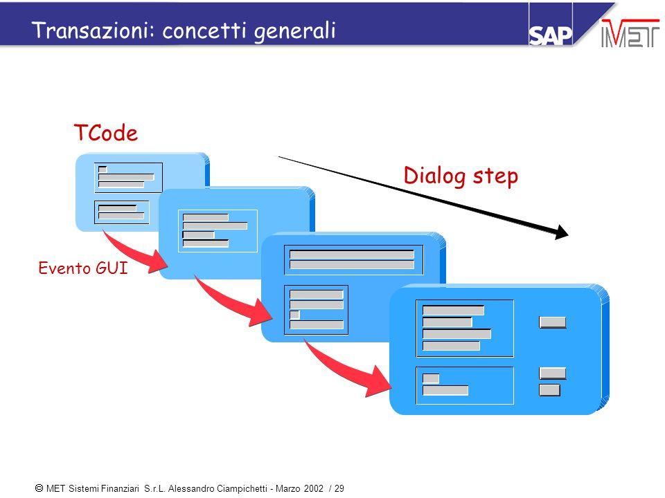  MET Sistemi Finanziari S.r.L. Alessandro Ciampichetti - Marzo 2002 / 29 Transazioni: concetti generali Dialog step TCode Evento GUI
