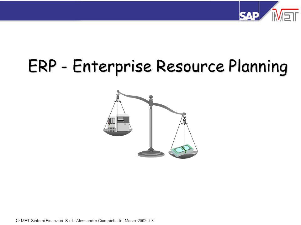  MET Sistemi Finanziari S.r.L. Alessandro Ciampichetti - Marzo 2002 / 3 ERP - Enterprise Resource Planning